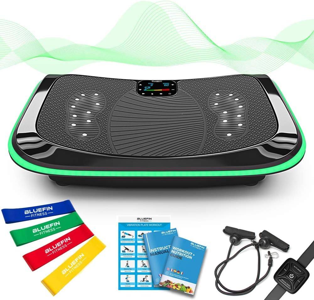 4D Vibrationsplatte – Leistungsstark mit 3 leisen Motoren | Leicht zu Bedienen | Magnetfeldtherapie Massage | Ultra Komfort – Curved Design | 4.0 Bluetooth Lautsprecher (Schwarz)