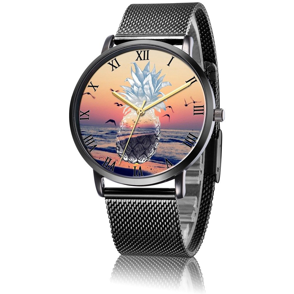 Amazon.com: Whiterbunny Customized Sunset Pineapple Wrist Watch Unisex Analog Quartz Fashion Black Steel Strip/Black Dial Plate for Women and Men: Watches
