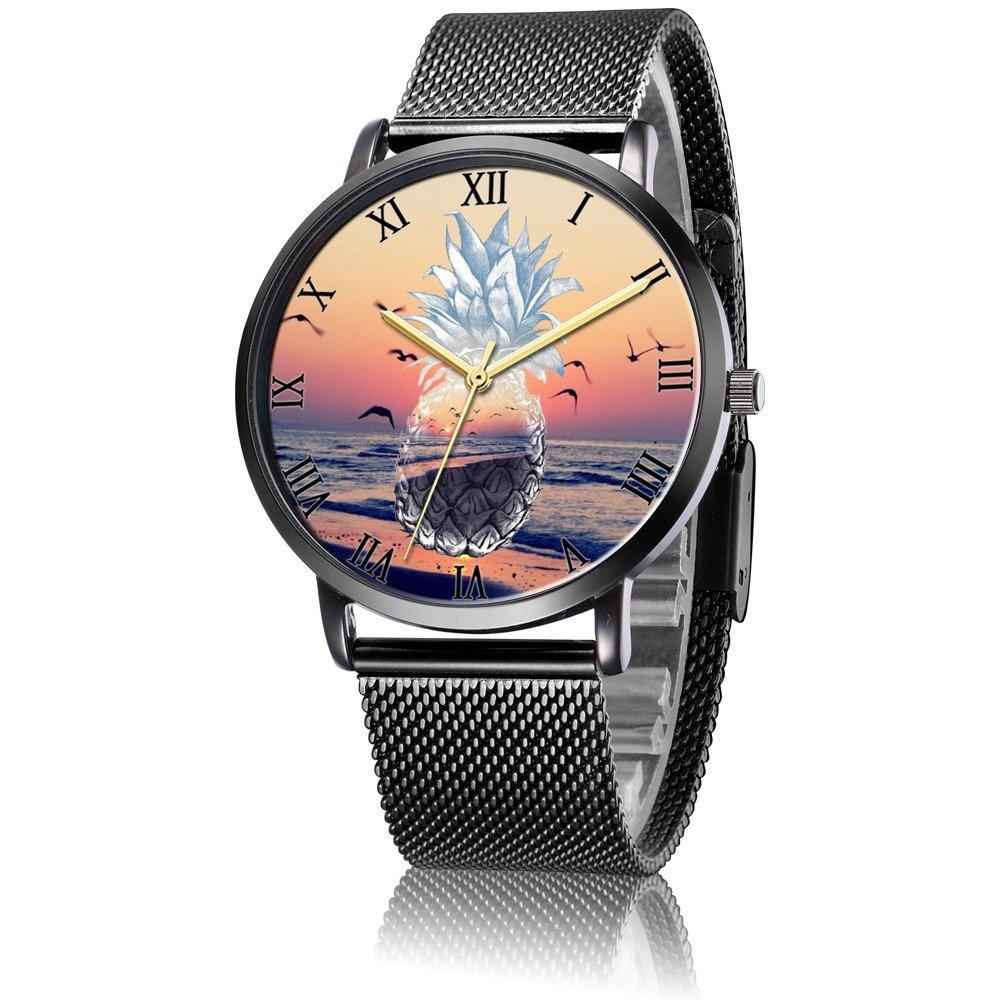 Amazon.com: Whiterbunny Customized Sunset Pineapple Wrist Watch Unisex Analog Quartz Fashion Black Steel Strip/Black Dial Plate for Women and Men: Watches