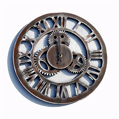 Popular Vintage Large Round Metal Color Steampunk Skeleton Modern Wall Clock