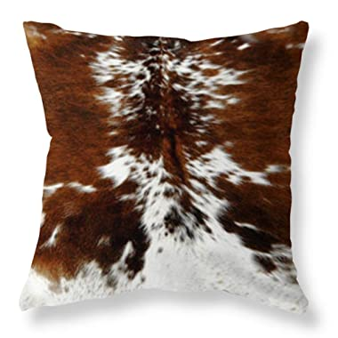 Joyce Throw Pillowcase 20 x 20 Tri Color Brown Cowhide Print Throw Pillow Cover