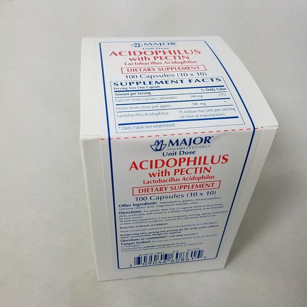 Major Acidophilus with Pectin, 100 Capsules Per Box (4 Pack)