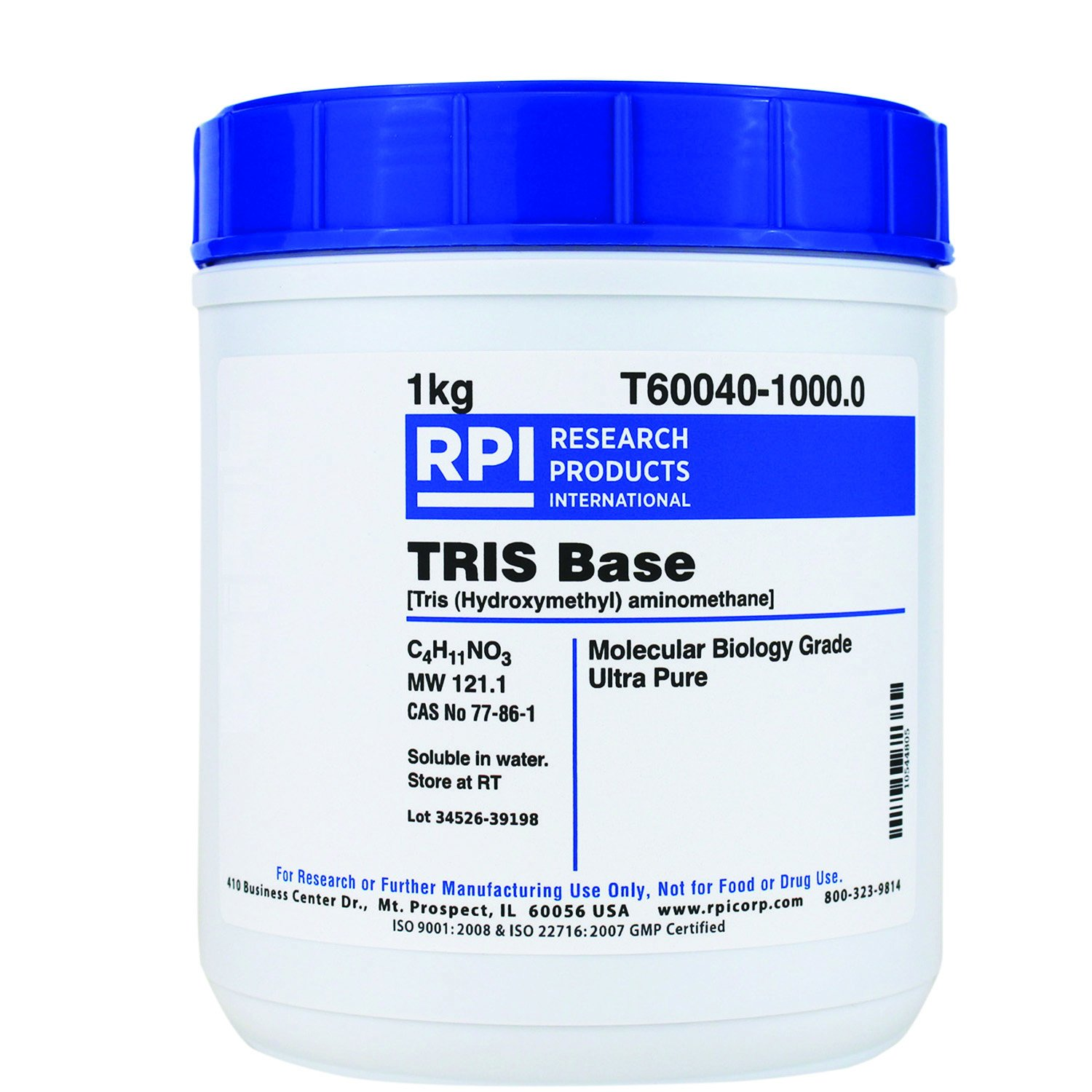 RPI TRIS Base Ultra Pure Powder, 1 Kilogram, Molecular Biology Grade, Buffer Component, [Tris (Hydroxymethyl) Aminomethane]
