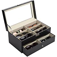Co-Z 12-Slot Leather Sunglasses Organizer with 12 Compartments & Drawer