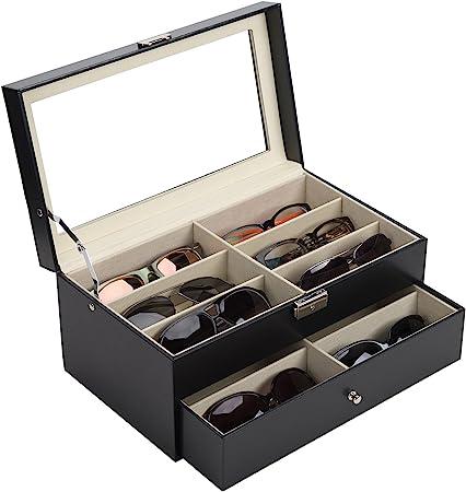 CO-Z Caja para Gafas de Sol Estuche de Cuero para Guardar y Exhibir Gafas/Relojes/Joyas/Anteojos Caja de Almacenamiento 12 Compartimentos Negro: Amazon.es: Hogar