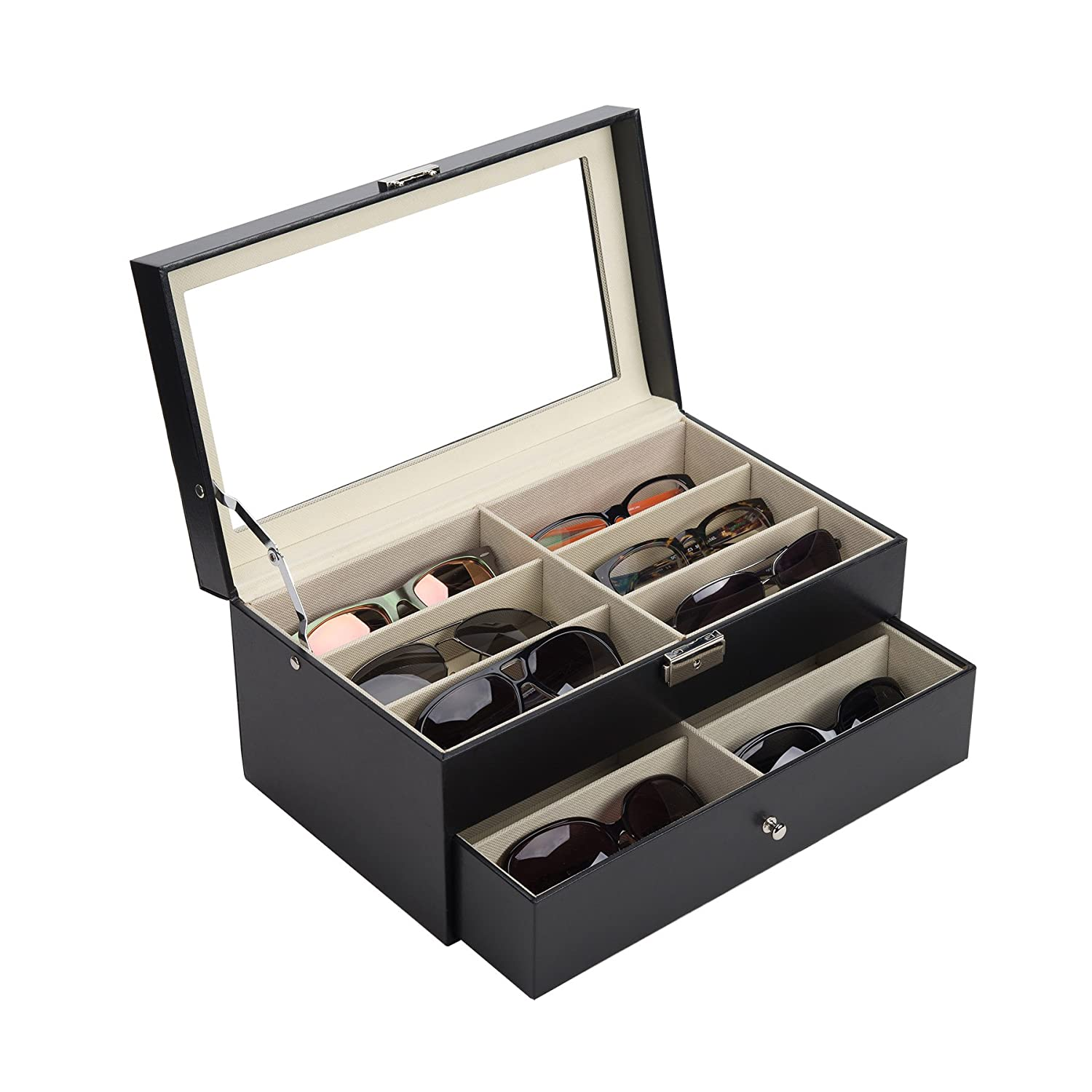 CO-Z Leather Multi Sunglasses Organizer for Women Men, Multiple Eyeglasses Eyewear Display Case, Sunglasses Collection Case, Sunglass Glasses Storage Holder Box with 12 Slots (12 Compartments)