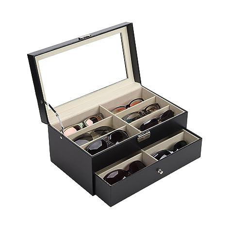CO-Z Caja para Gafas de Sol Estuche de Cuero para Guardar y Exhibir Gafas/ Relojes/ Joyas/ Anteojos Caja de Almacenamiento 12 Compartimentos Negro