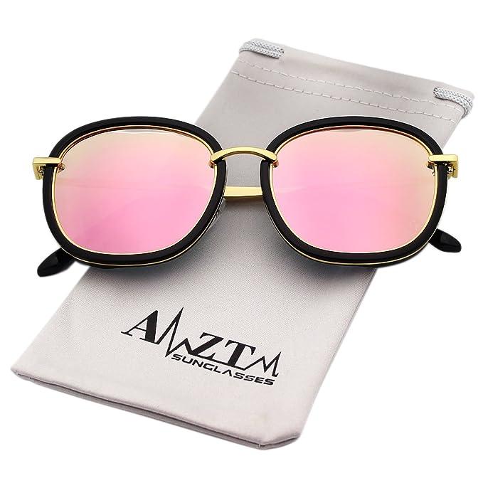 AMZTM Tendencia Moda Reflejado Rosa Lentes Polarizadas Oversized Grande Gafas De Sol Para Mujer