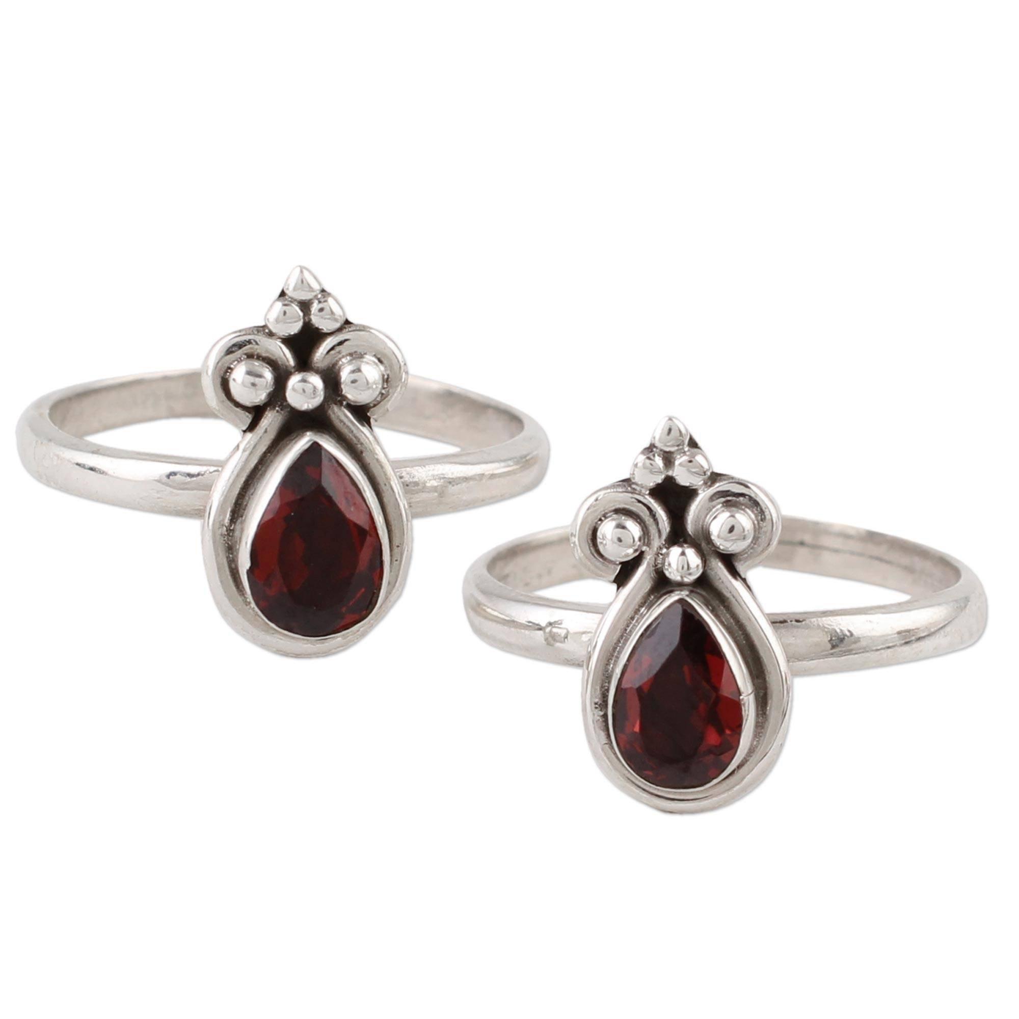 NOVICA Teardrop Garnet .925 Sterling Silver Adjustable Toe Rings, Scarlet Drops' (pair)
