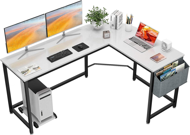 Homfio L Shaped Desk 58'' Computer Corner Desk Gaming Desk PC Table Writing Desk Large L Study Desk Home Office Workstation Modern Simple Multi-Usage Desk with Storage Bag Space-Saving Wooden Table