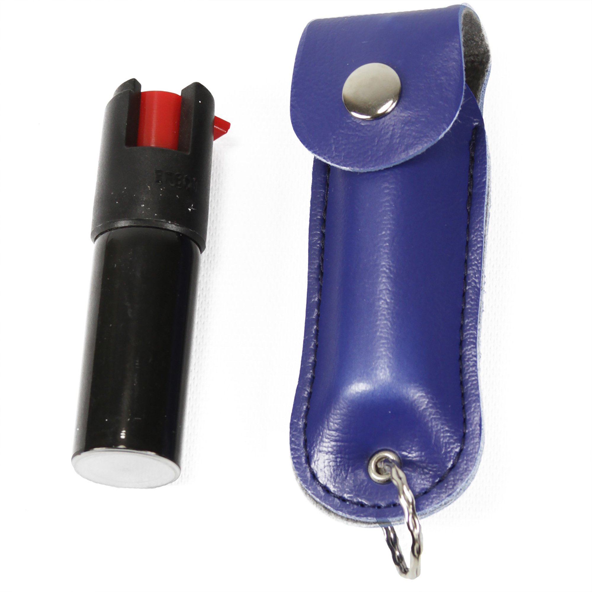 Style PP12 - Pepper Spray with Leatherette Holster Key Ring - Blue (0.5 oz) by Pepper Plus