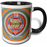 3dRose mug_154440_4 9th Wedding Anniversary gift Pottery celebrating 9 years together ninth anniversaries nine yrs Two Tone Black Mug, 11 oz, Black/White