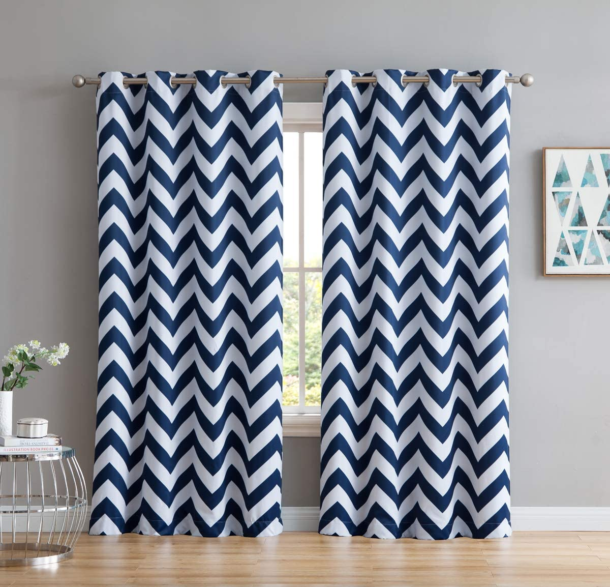 Amazon Com Hlc Me Chevron Print Thermal Insulated Energy Efficient Room Darkening Blackout Window Curtain Grommet Top Panels For Bedroom Nursery Set Of 2 52 W X 84 L Navy Blue Home