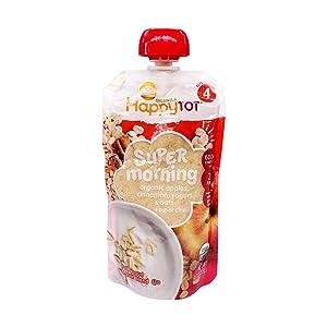 Happy Tot Morning Stage 4 Organics Toddler Food, Apple Cinnamon, Yogurt, & Oats and Super Chia, 4 oz