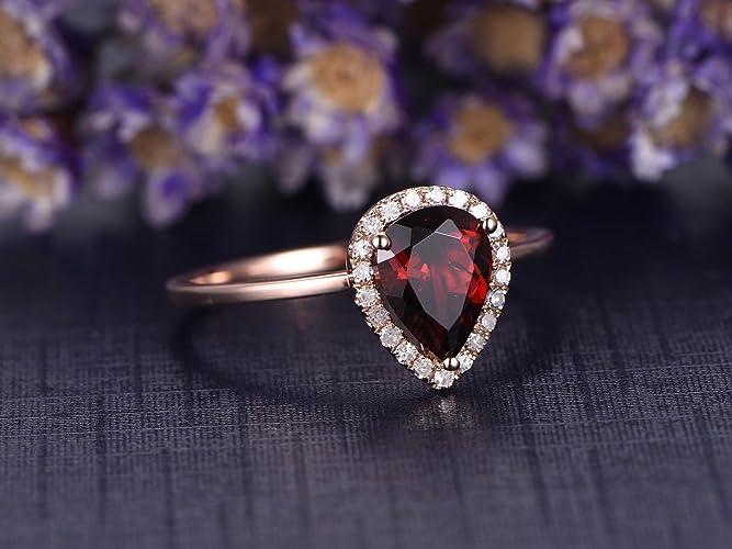 4d1d31e2981b2 Amazon.com: Natural Garnet Engagement Ring 6x8mm Pear Shaped Cut Red ...