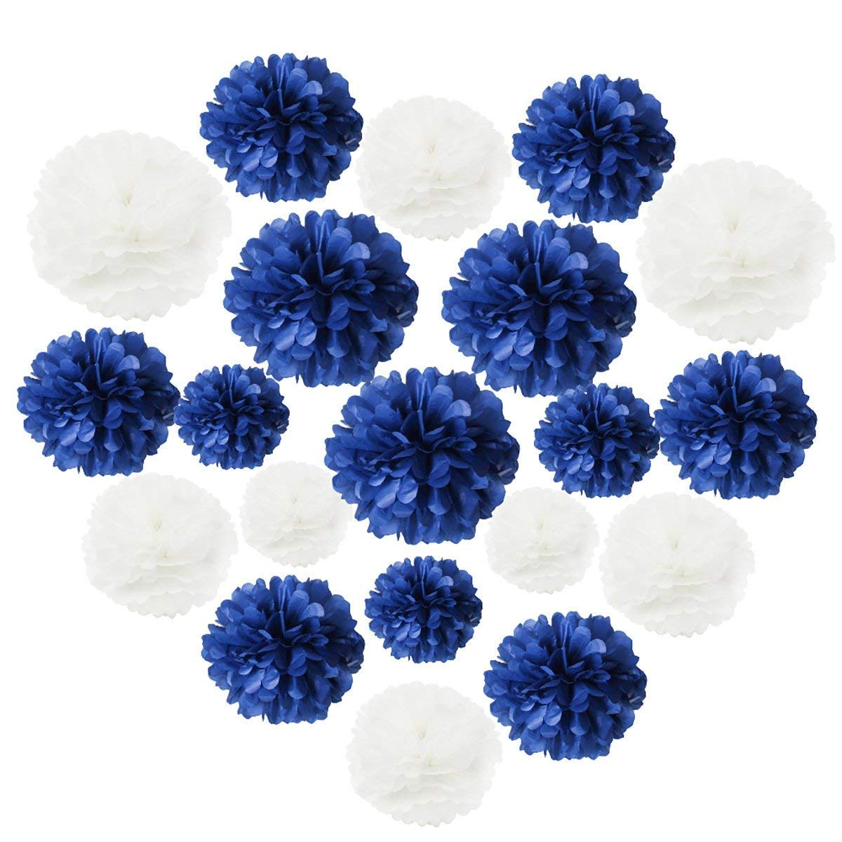 Bridal Shower Navy White Yellow Baby Shower Decoration Barcoad White Navy Yellow 10inch Tissue Paper Pom Pom 8inch Paper Lanterns Mixed Package for Navy Blue Party Wedding Paper Garland