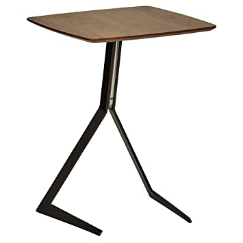 Rivet Petite Table D Appoint En Bois Et Metal A Pieds Inclines Et