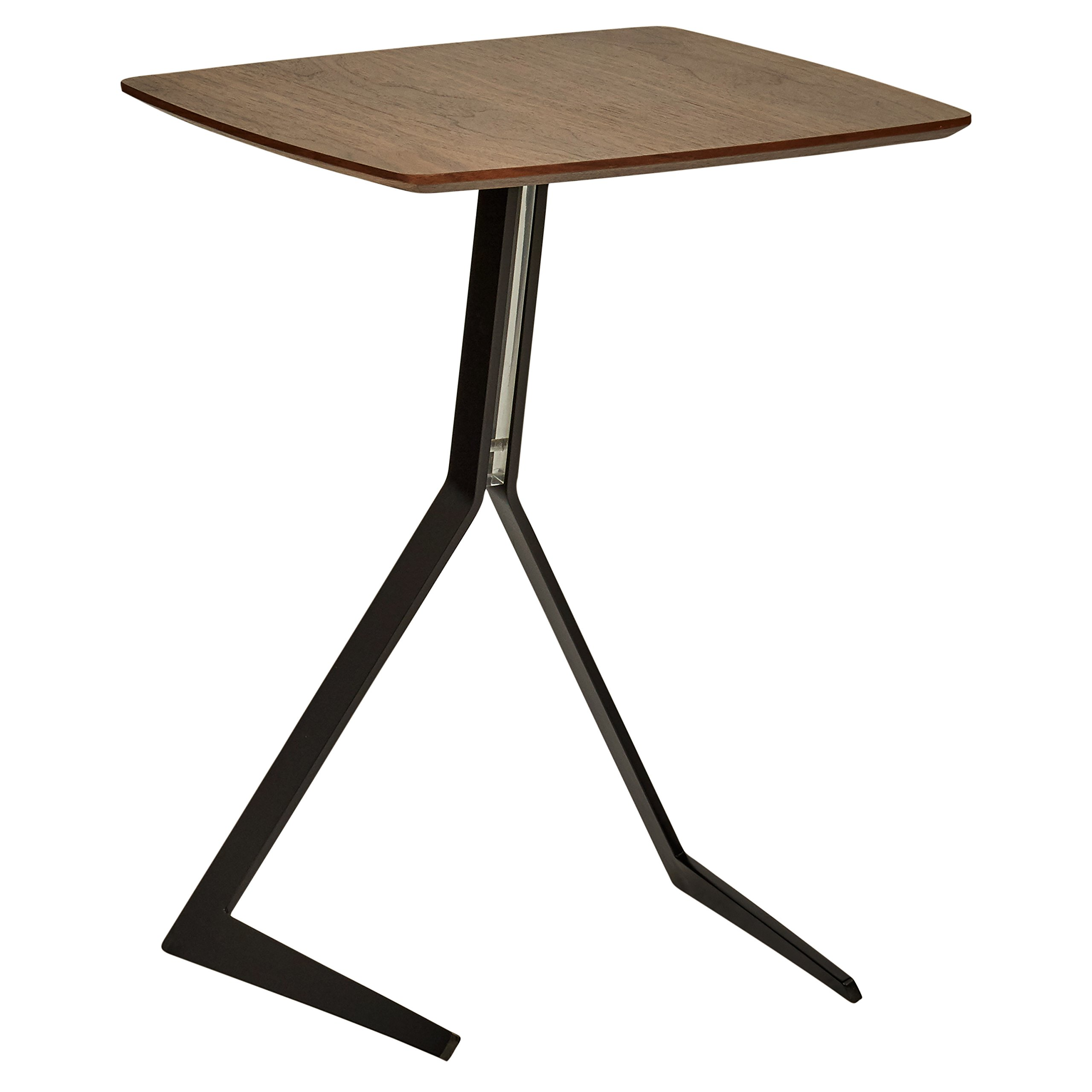 Rivet Industrial Tilted Wood and Metal End Table, 17.3'' W, Walnut