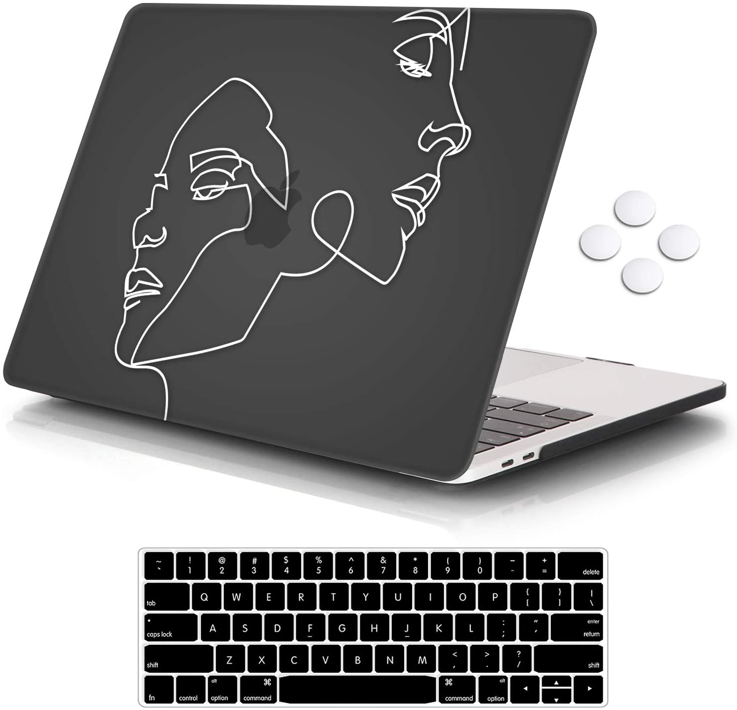 "iCasso MacBook Pro 13 inch Case 2019 2018 2017 2016 Release A2159/A1989/A1706/A1708, Plastic Hard Shell Case with 5 Rows Keyboard Cover Compatible Newest MacBook Pro 13"" - Face Sketch"