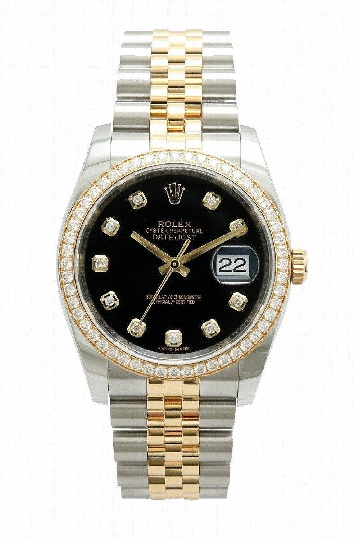 [ロレックス] ROLEX デイトジャスト 10Pダイヤ ダイヤベゼル デイト ブラック文字盤 SS/YG ランダム ルーレット メンズ オートマ 腕時計 116243G B07D9BNV43