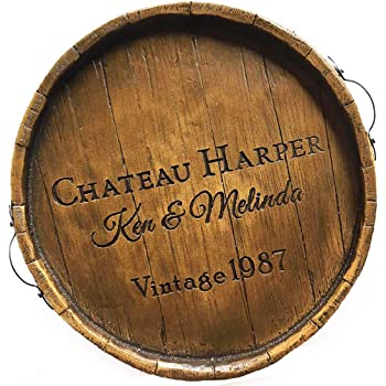 Wine Barrel Serving Tray Personalized
