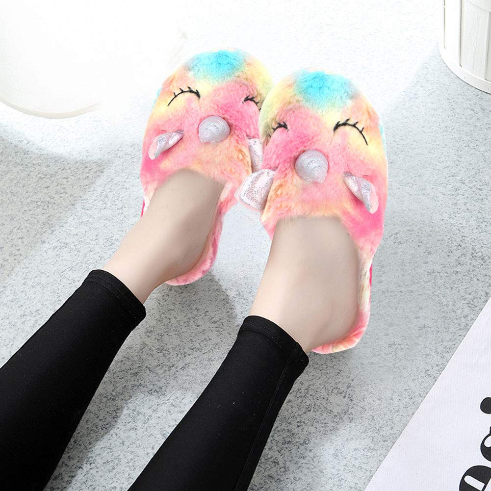 Unicorn Slippers Non-Slip Sole Indoors Unicorn Plush Slippers for Kids /& Adults Soft Cute Spring Autumn Winter Shoes Christmas Halloween New Year Gifts