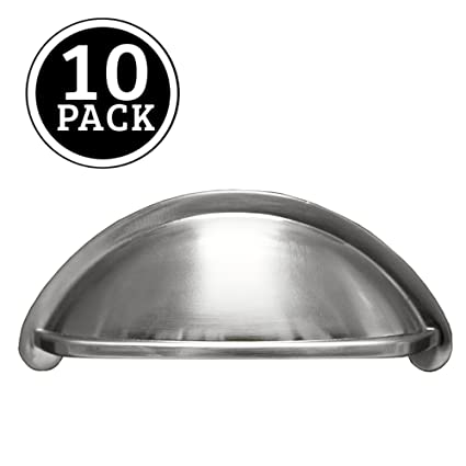 Satin Nickel Kitchen Cabinet Pulls - 3 Inch Bin Cup Drawer Handles ...