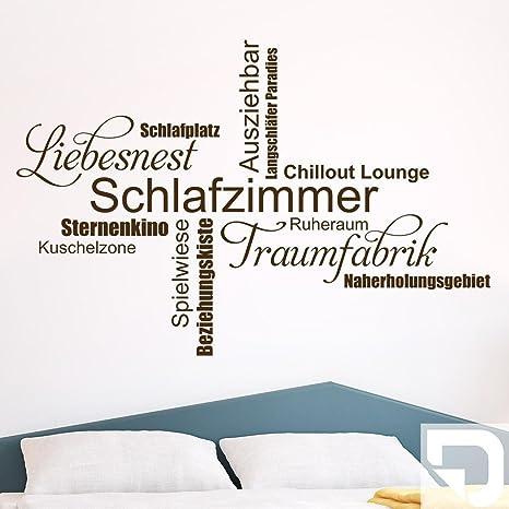 DESIGNSCAPE® Wandtattoo Schlafzimmer Wortwolke 80 x 54 cm (Breite x Höhe)  weiss DW803298-S-F5