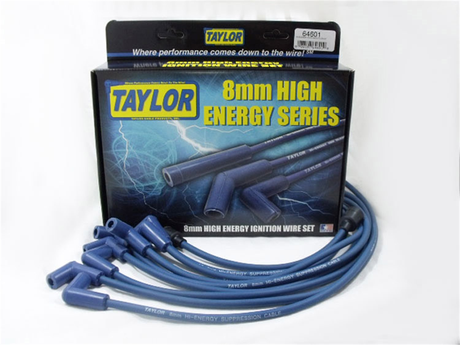 Taylor Cable 64601 Blue Custom 8mm High Energy Resistor Core Ignition Wire Set