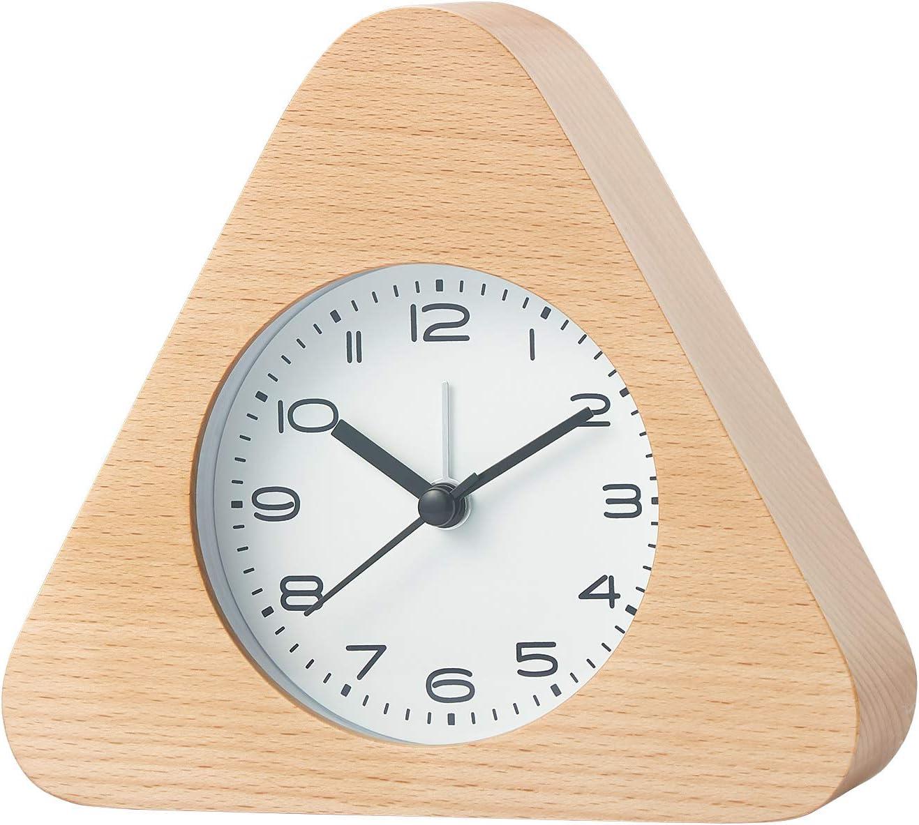 Horloge en Bois Classique Horloge de Chevet D/écoration en Forme de Triangle /él/égante D/écoration Vintage Pour le Bureau de la Chambre /à Coucher Bureau et Table de R/éveil Silencieuse Avec Veilleuse