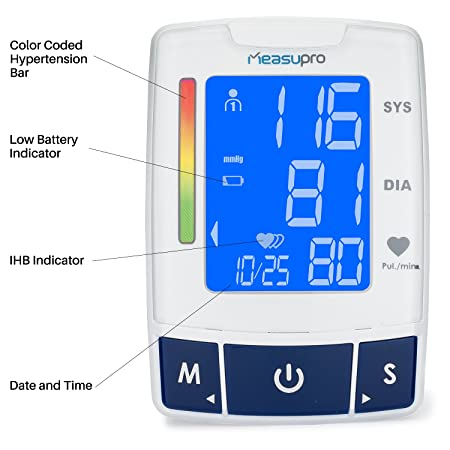 MeasuPro Brazalete de Medición de Presión Arterial con Detección del Ritmo Cardiaco, Dos Modos de Usuario, Recuperación de Memoria y Pantalla LCD Iluminada ...