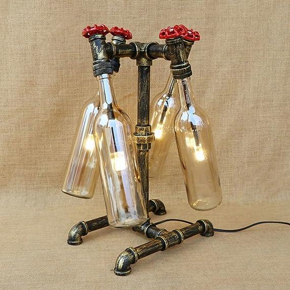 Pumpink Creativo llevó la botella de cristal G4 escritorio luz antigua industria Retro antiguo lámpara de mesa lámpara de lectura hierro arte válvula tubo ...