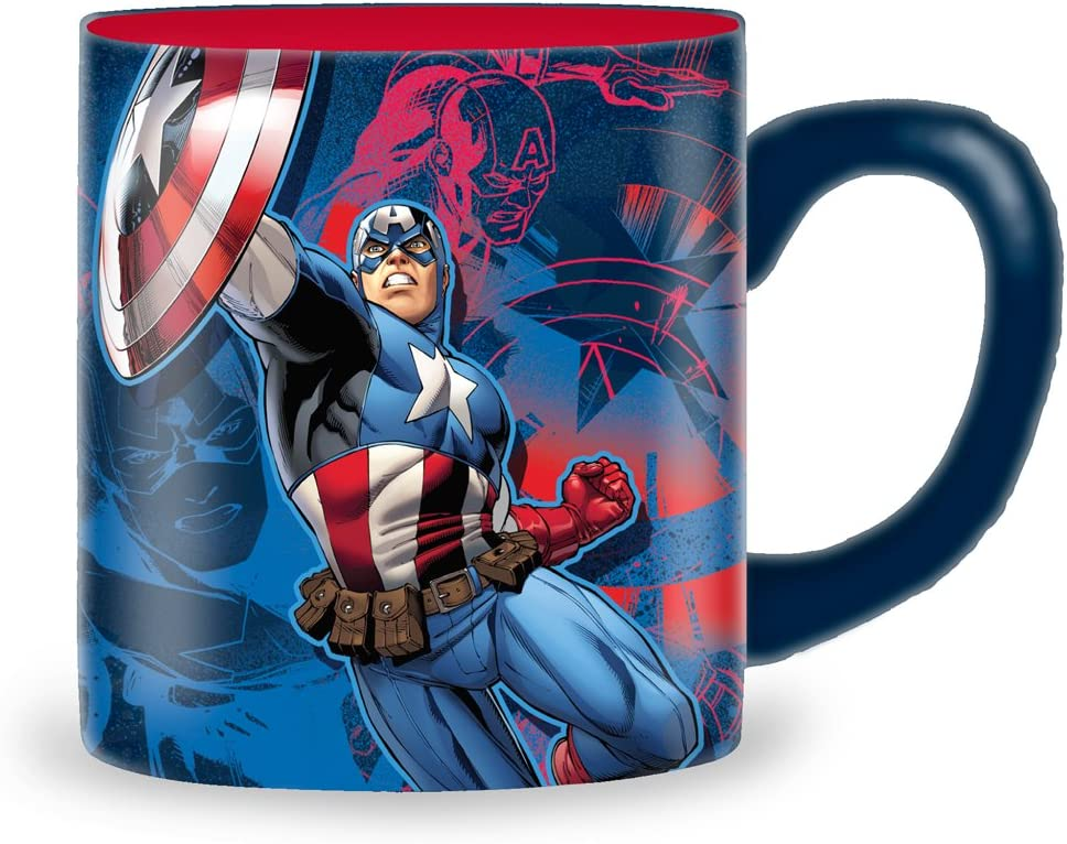 Silver Buffalo Marvel Captain America Ceramic Mug, 14-Ounces