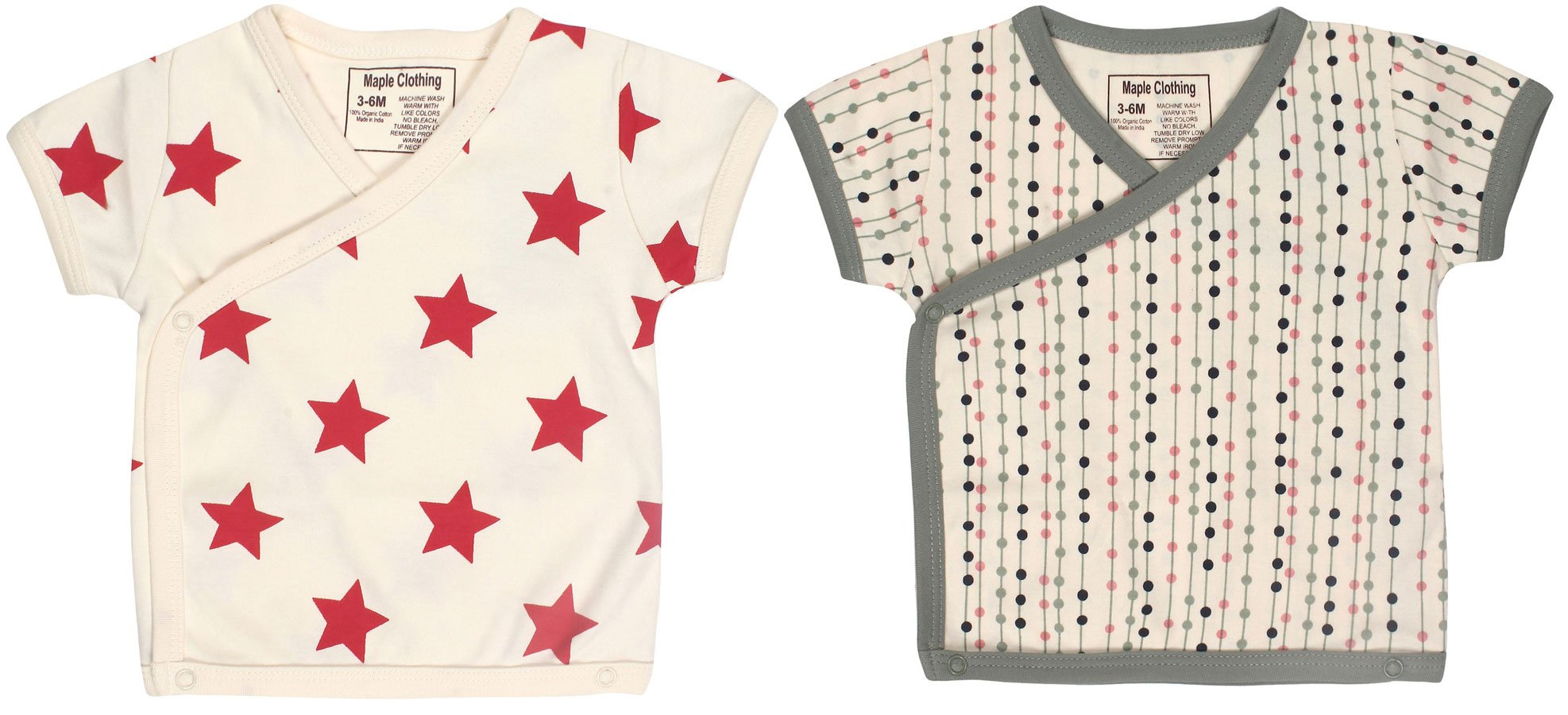 Organic Cotton Baby Short Sleeve Kimono (2 Pack, Star/Small Dots, 0-3m)