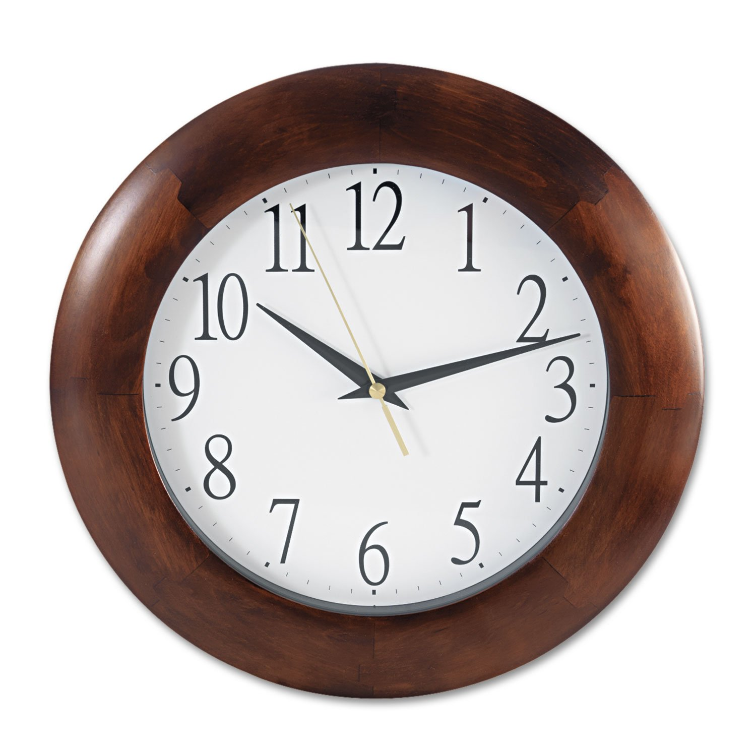 Universal 10414 Round Wood Clock, 12 3/4'', Cherry