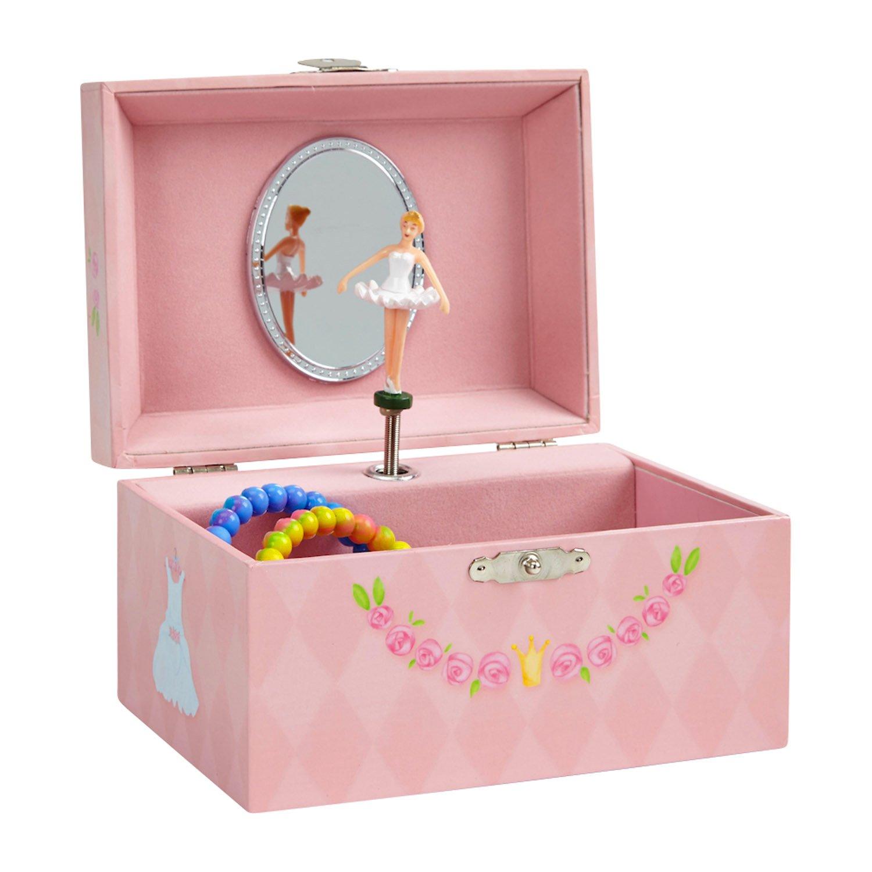 JewelKeeper Girl's Musical Jewelry Storage Box with Ballerina and Roses Design, Swan Lake Tune