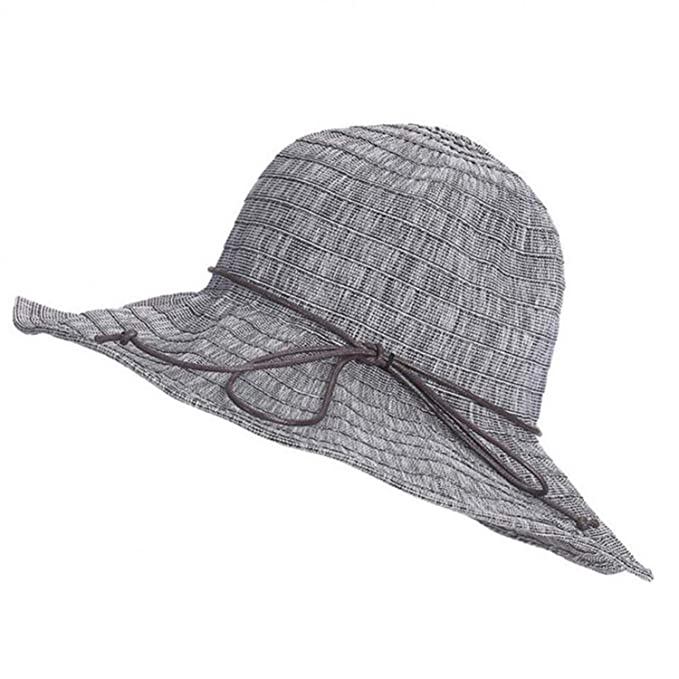 a7279cc991aace New Women Beach Hat Lady Derby Cap Wide Brim Floppy Fold Summer Travel Sun  String Bow