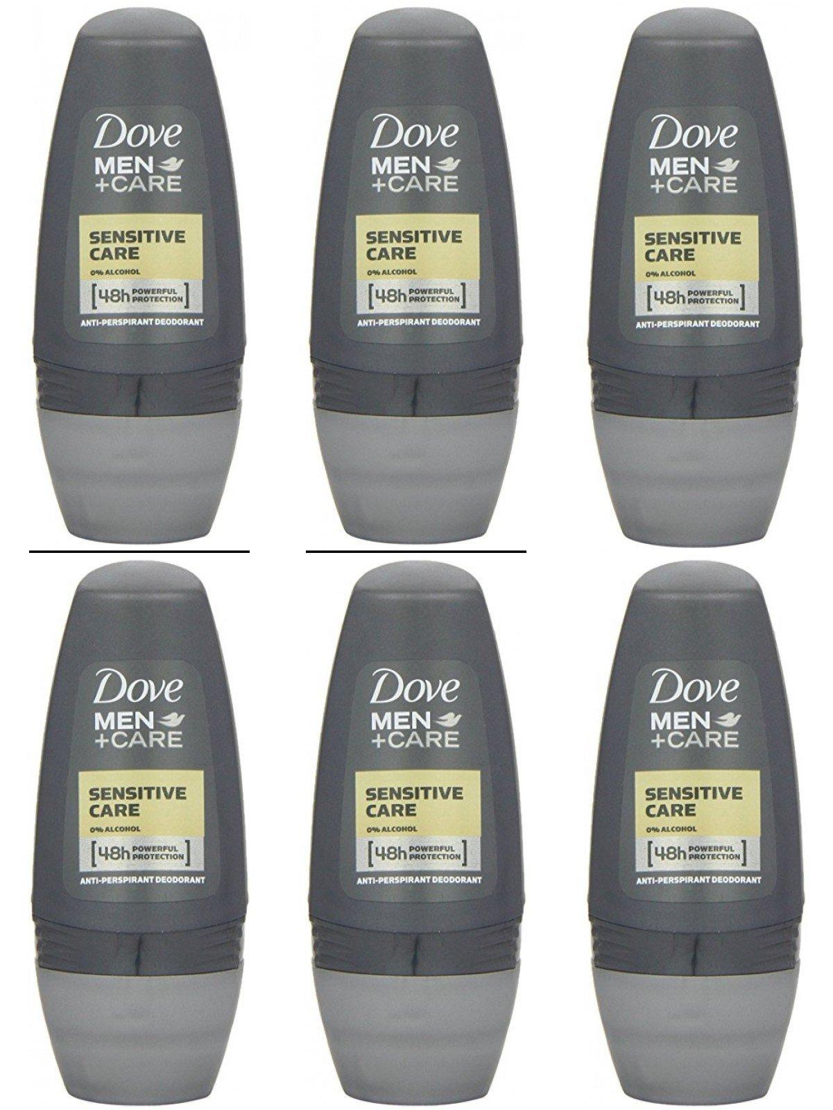 Dove Men+Care Sensitive Care Antiperspirant Deodorant Roll-On 1.7 Oz 50 Ml Travel Size (Pack of 6)