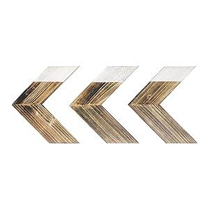 "Barnyard Designs Rustic Farmhouse Wooden Chevron Arrow Wall Decor - Set of 3 Decorative Wood Arrows Sign - Home Decor 12"" x 11"" (Each Arrow)"