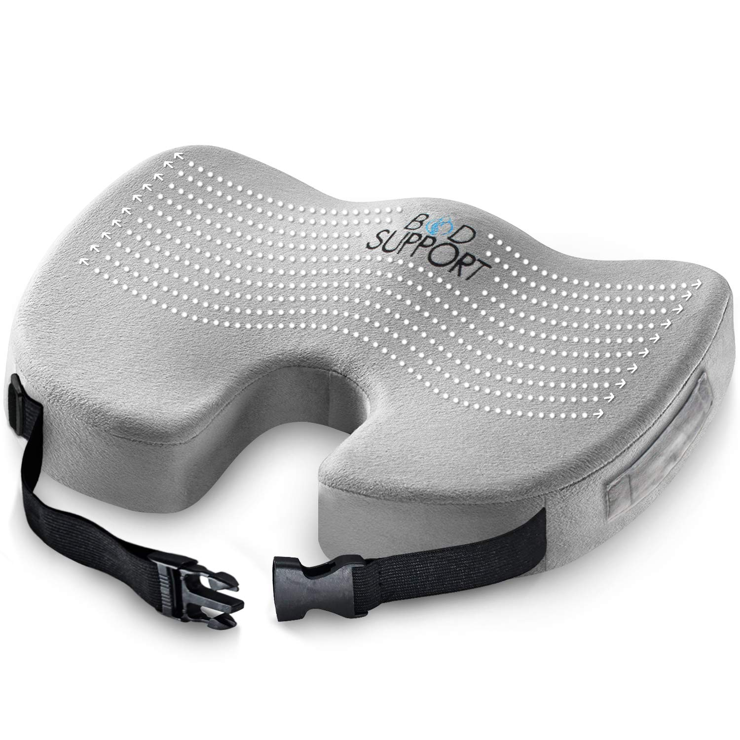 Seat Cushion Memory Foam - With Orthopedic Design To Relieve Coccyx, Sciatica And Tailbone Pain From Prolonged Sitting In The Car, Office Or Kitchen Chairs by Bod Support