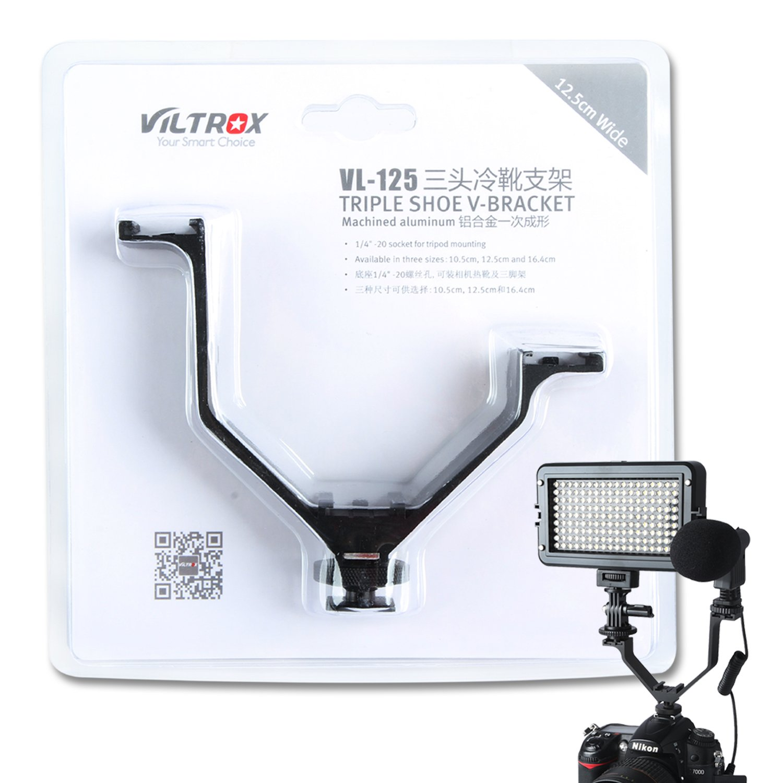 VILTROX V-bracket 5''/12.5cm V-shape Triple 3 Universal Cold Shoe Hot Shoe Mount Bracket for DSLR camera with LED Video Light, Microphone, Monitor, Flash, good for video photography