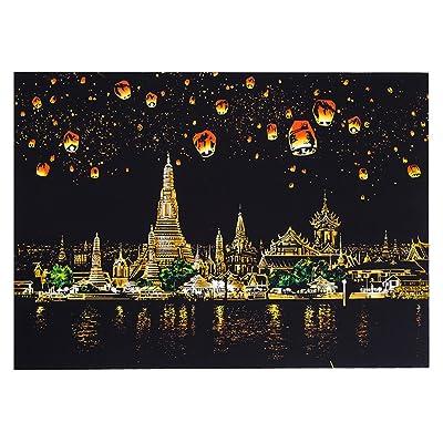 Jouets pour enfants Cadeau de Noël Creative bricolage Scratch ville lumineuse nuit vue raclage peinture monde visites touristiques comme cadeaux