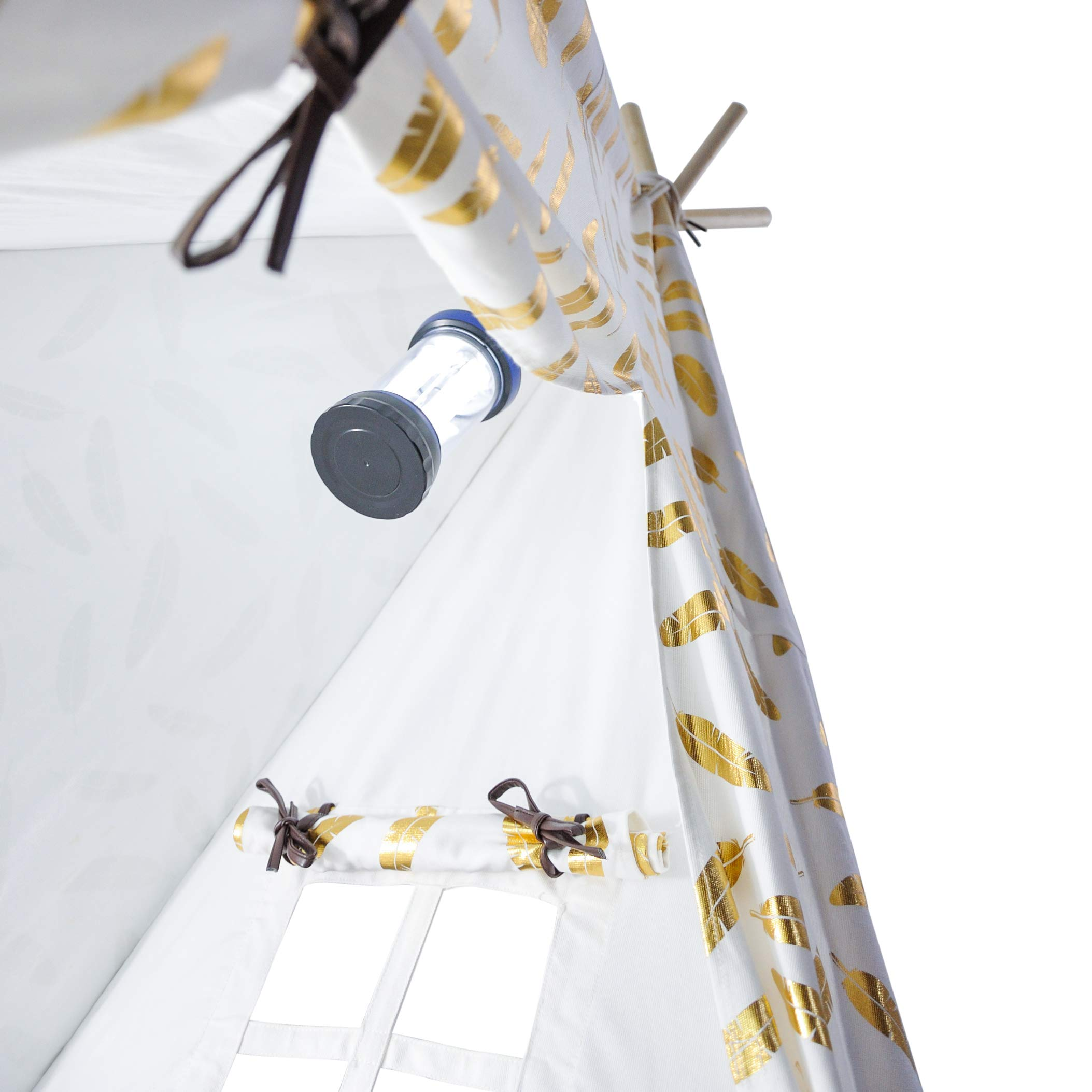 A Mustard Seed Toys Teepee Tent for Boys and Girls, Gold Feathers, Portable Playhouse with Canvas Carrying Case, No Extra Chemicals by A Mustard Seed Toys (Image #6)