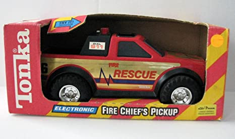 Amazon com: Tonka Fire Chief Pickup with Flashing Lights and