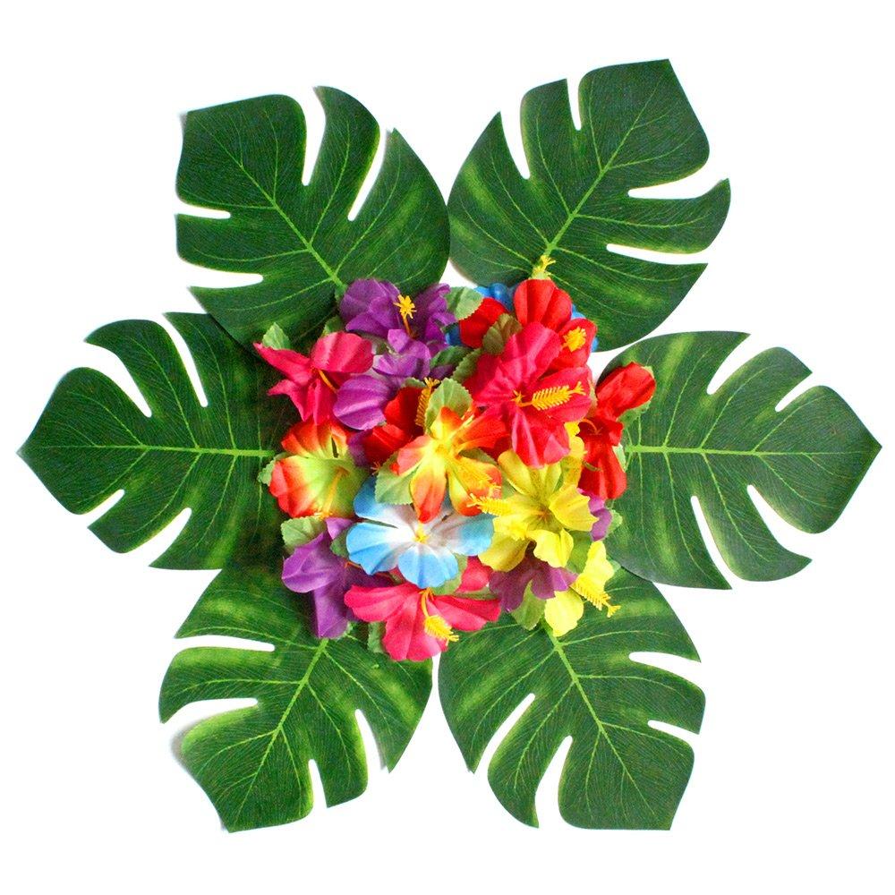 60pcs Hawaiian Luau Party Jungle Beach Tropical Party