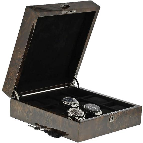 Caja de coleccionistas de relojes de madera oscura de calidad premium para 12 relojes con tapa