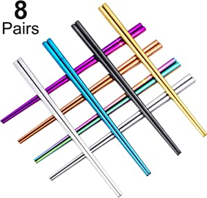 8 Pairs Stainless Steel Metal Chopsticks, Dishwasher Safe Reusable Light Weight Stainless Steel Chopsticks Set (Multicolor)