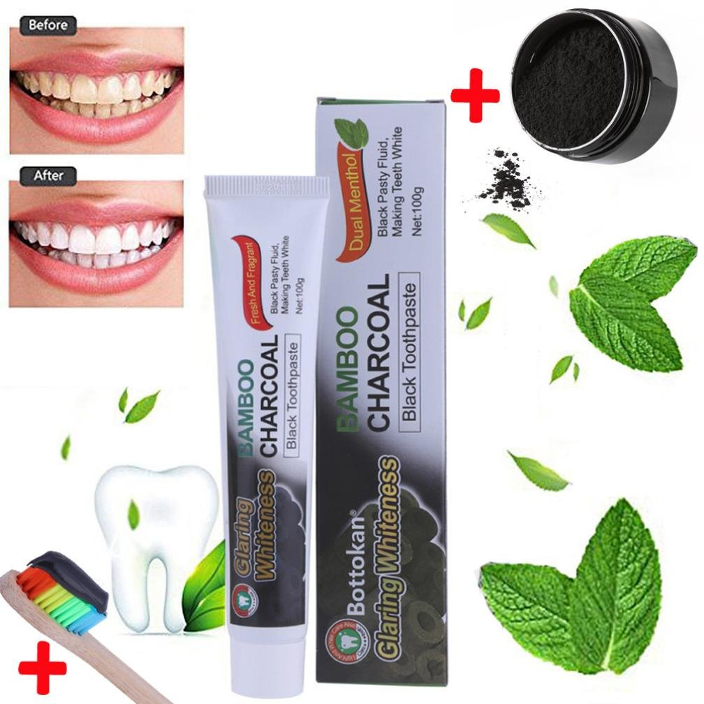 IGEMY Teeth Whitening Powder Natural Organic Activated Charcoal Bamboo Toothpaste +Brush (Black/Toothpaste)