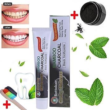IGEMY Dientes Blanqueamiento Polvo Natural Organico Activado Carbón Bambú Pasta de Dientes + Cepillo: Amazon.es: Belleza