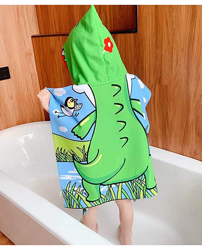 Colorful,1-5Years Coralup Kids Hooded Bath Towels Cartoon Printed Toddler Beach Towels Poncho Bathrobe Quick Drying Microfiber Large